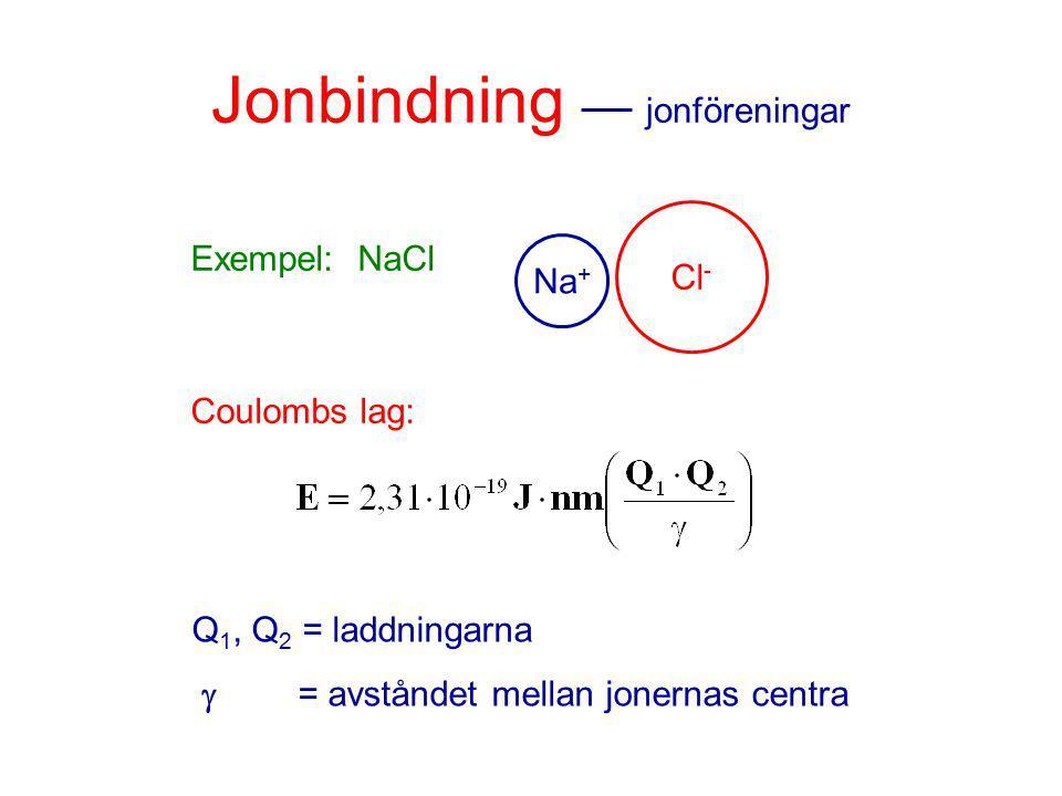 Jonbindning jonföreningar Exempel: NaCl Coulombs lag: Cl - Na + Q 1, Q 2 = laddningarna  = avståndet mellan jonernas centra