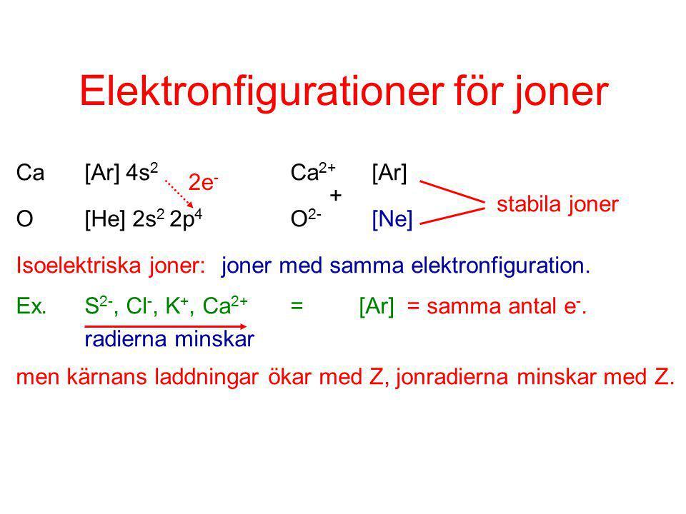 Elektronfigurationer för joner Ca[Ar] 4s 2 Ca 2+ [Ar] O[He] 2s 2 2p 4 O 2- [Ne] Isoelektriska joner:joner med samma elektronfiguration.