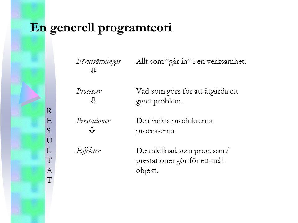 """En generell programteori FörutsättningarAllt som """"går in"""" i en verksamhet.  ProcesserVad som görs för att åtgärda ett  givet problem. R EPrestatione"""