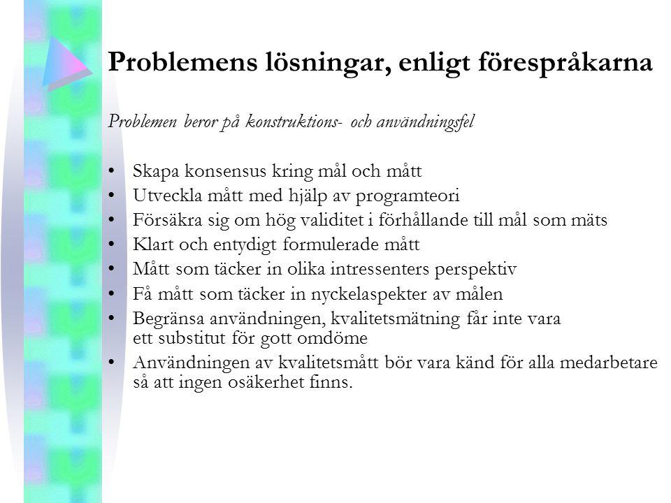 Problemens lösningar, enligt förespråkarna Problemen beror på konstruktions- och användningsfel Skapa konsensus kring mål och mått Utveckla mått med h