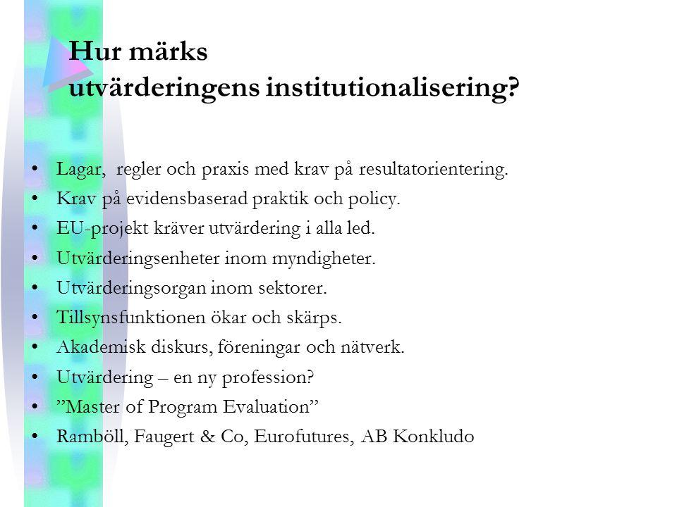 Hur märks utvärderingens institutionalisering? Lagar, regler och praxis med krav på resultatorientering. Krav på evidensbaserad praktik och policy. EU