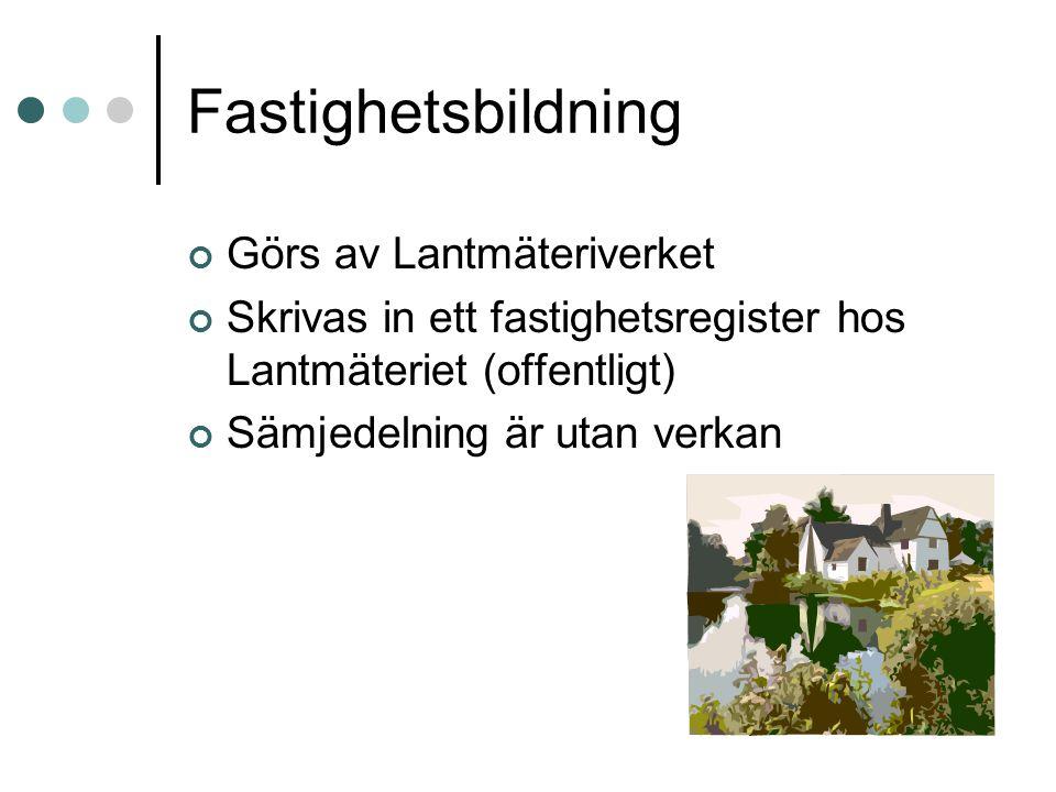 Fastighetsbildning Görs av Lantmäteriverket Skrivas in ett fastighetsregister hos Lantmäteriet (offentligt) Sämjedelning är utan verkan