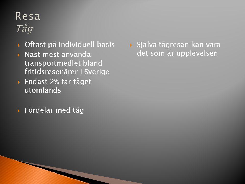  Oftast på individuell basis  Näst mest använda transportmedlet bland fritidsresenärer i Sverige  Endast 2% tar tåget utomlands  Fördelar med tåg  Själva tågresan kan vara det som är upplevelsen