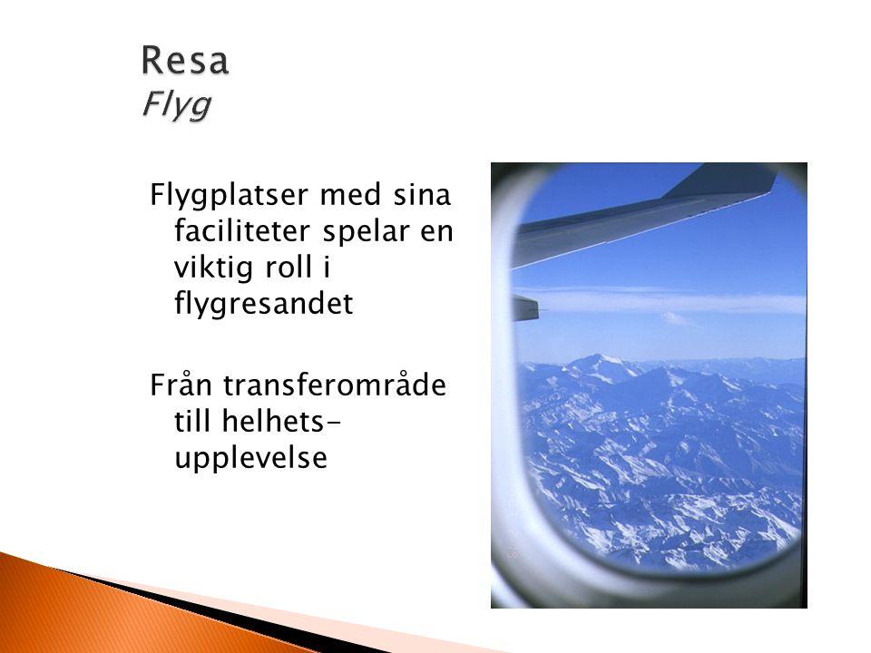 Flygplatser med sina faciliteter spelar en viktig roll i flygresandet Från transferområde till helhets- upplevelse