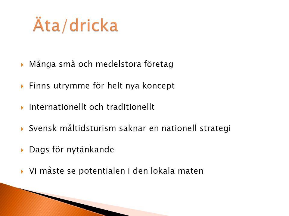  Många små och medelstora företag  Finns utrymme för helt nya koncept  Internationellt och traditionellt  Svensk måltidsturism saknar en nationell strategi  Dags för nytänkande  Vi måste se potentialen i den lokala maten