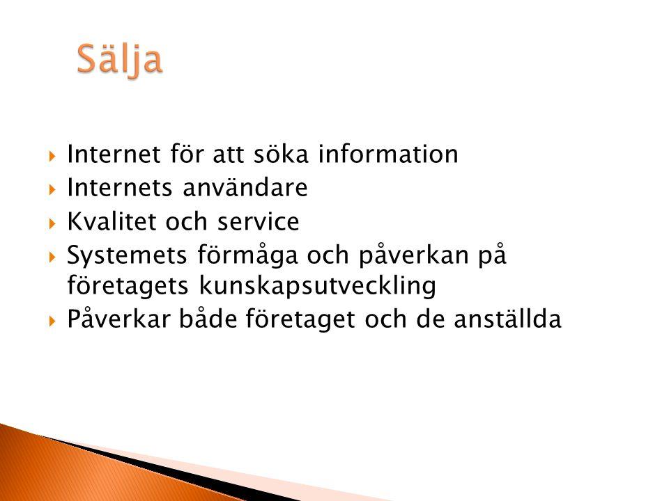  Internet för att söka information  Internets användare  Kvalitet och service  Systemets förmåga och påverkan på företagets kunskapsutveckling  Påverkar både företaget och de anställda