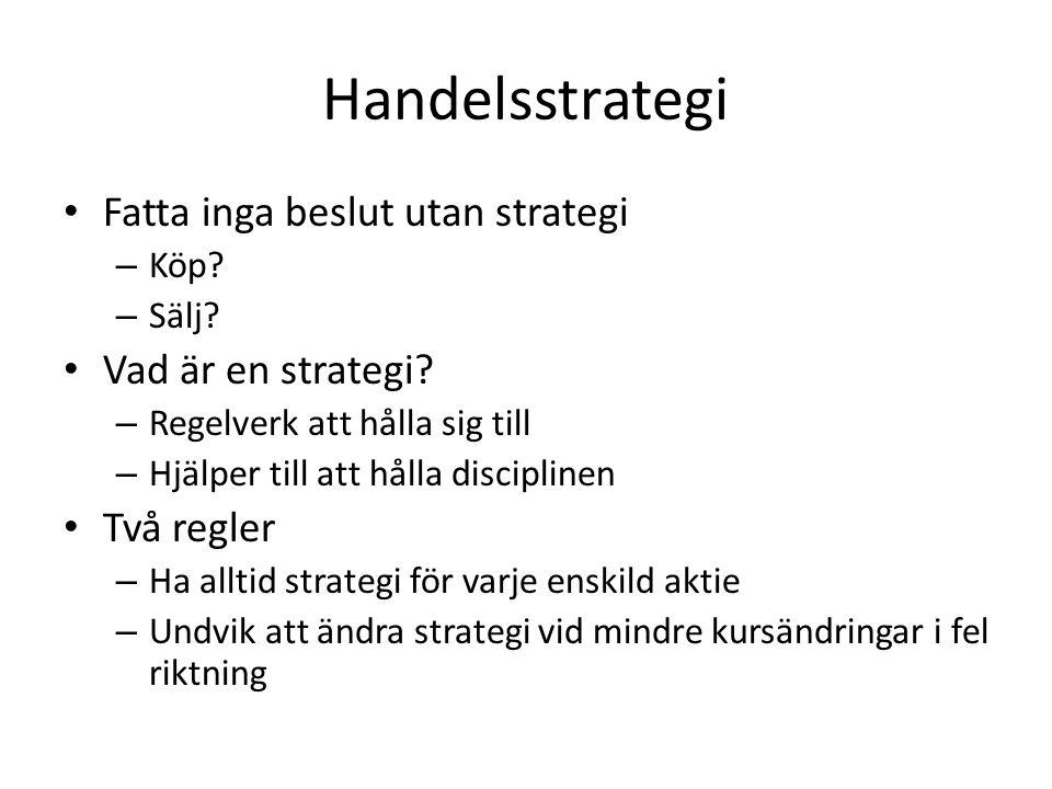 Handelsstrategi Fatta inga beslut utan strategi – Köp? – Sälj? Vad är en strategi? – Regelverk att hålla sig till – Hjälper till att hålla disciplinen