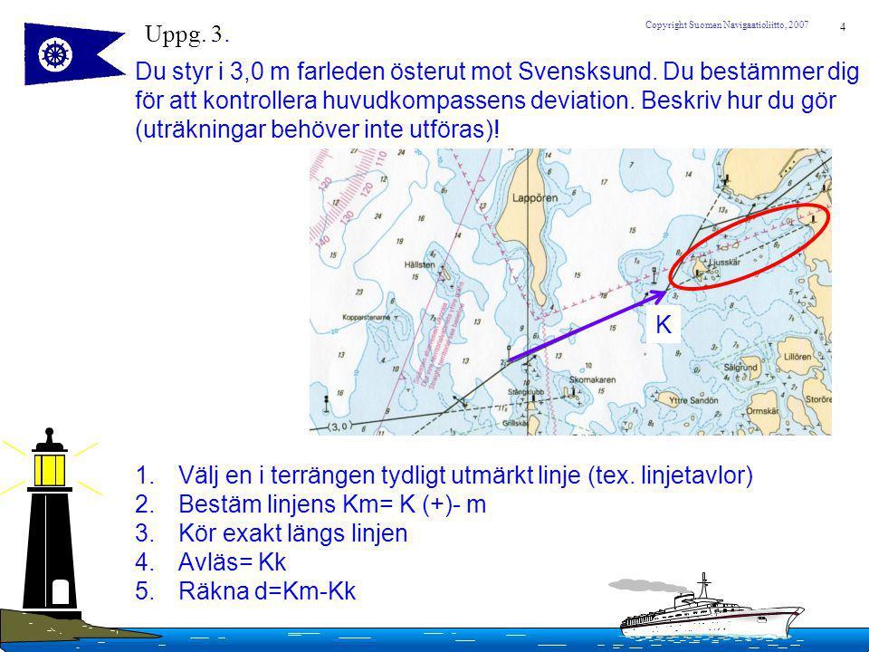 4 Copyright Suomen Navigaatioliitto, 2007 Uppg. 3. Du styr i 3,0 m farleden österut mot Svensksund. Du bestämmer dig för att kontrollera huvudkompasse