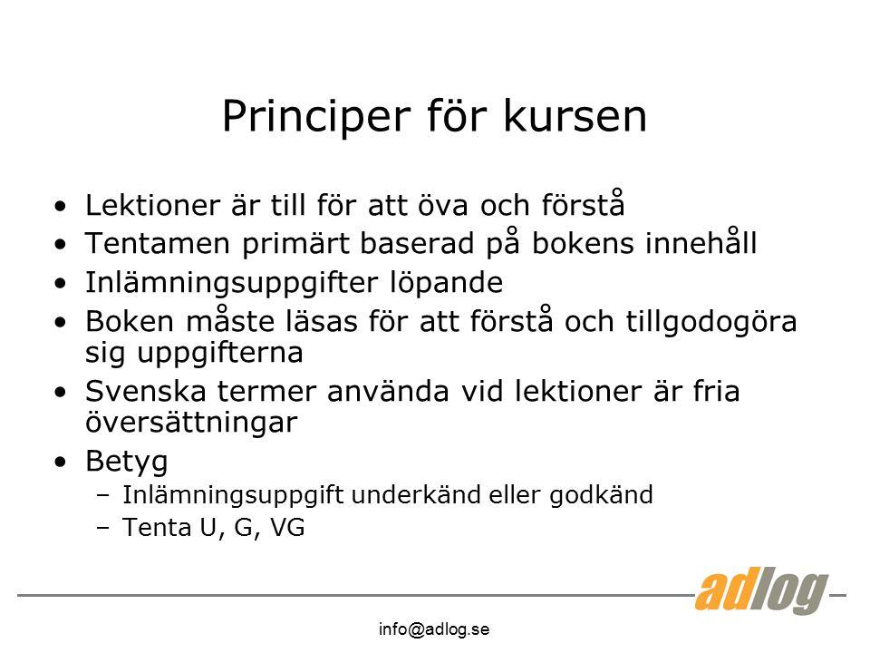 info@adlog.se Principer för kursen Lektioner är till för att öva och förstå Tentamen primärt baserad på bokens innehåll Inlämningsuppgifter löpande Boken måste läsas för att förstå och tillgodogöra sig uppgifterna Svenska termer använda vid lektioner är fria översättningar Betyg –Inlämningsuppgift underkänd eller godkänd –Tenta U, G, VG