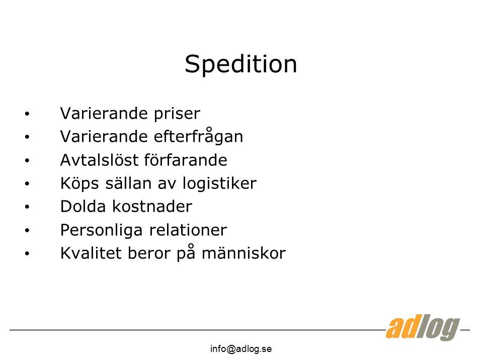info@adlog.se Spedition Varierande priser Varierande efterfrågan Avtalslöst förfarande Köps sällan av logistiker Dolda kostnader Personliga relationer Kvalitet beror på människor