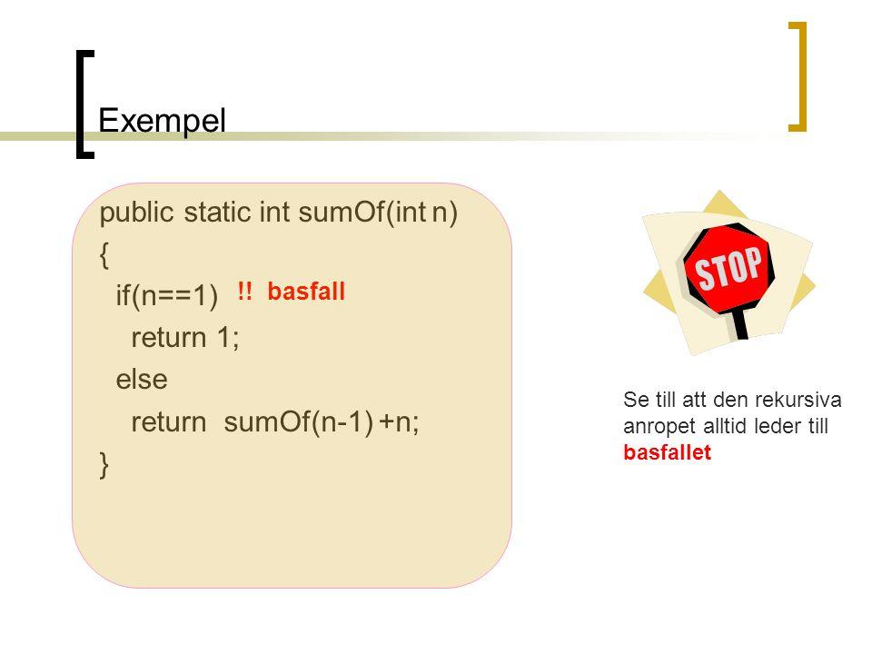 Exempel public static int sumOf(int n) { if(n==1) return 1; else return sumOf(n-1) +n; } !! basfall Se till att den rekursiva anropet alltid leder til
