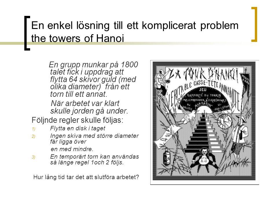 En enkel lösning till ett komplicerat problem the towers of Hanoi En grupp munkar på 1800 talet fick i uppdrag att flytta 64 skivor guld (med olika di