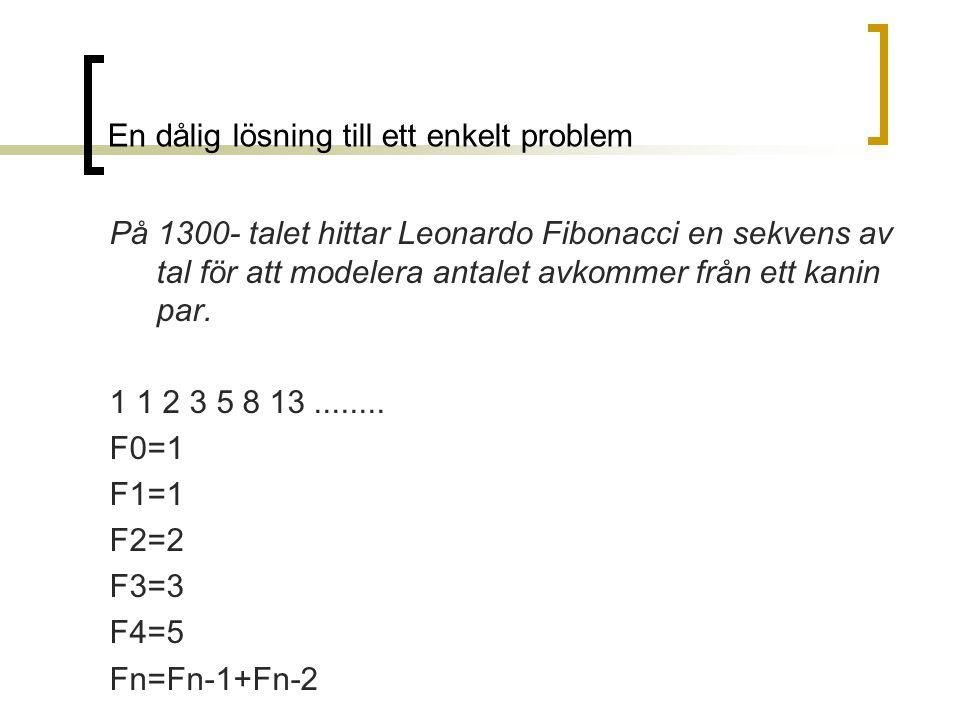 En dålig lösning till ett enkelt problem På 1300- talet hittar Leonardo Fibonacci en sekvens av tal för att modelera antalet avkommer från ett kanin p