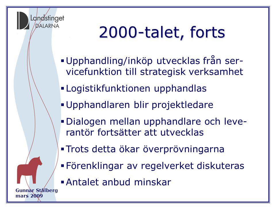 Gunnar Stålberg mars 2009 2000-talet, forts  Upphandling/inköp utvecklas från ser- vicefunktion till strategisk verksamhet  Logistikfunktionen upphandlas  Upphandlaren blir projektledare  Dialogen mellan upphandlare och leve- rantör fortsätter att utvecklas  Trots detta ökar överprövningarna  Förenklingar av regelverket diskuteras  Antalet anbud minskar