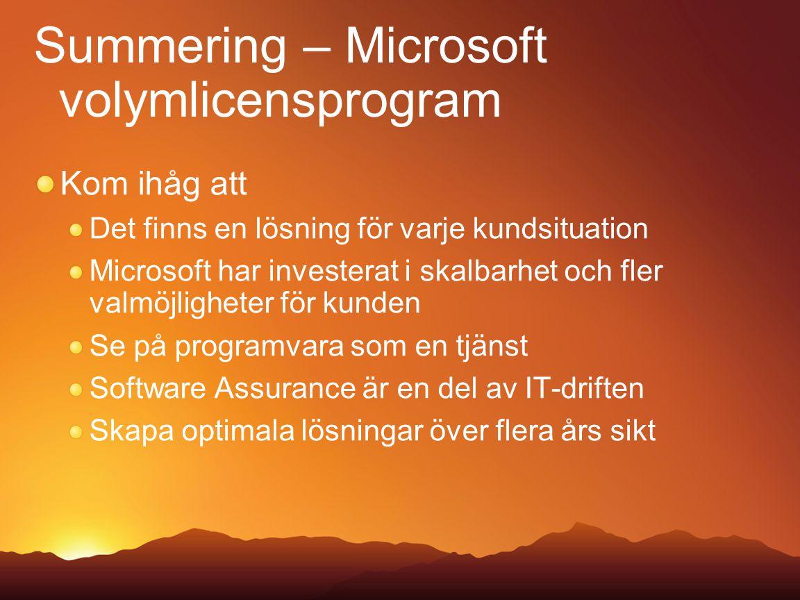 Summering – Microsoft volymlicensprogram Kom ihåg att Det finns en lösning för varje kundsituation Microsoft har investerat i skalbarhet och fler valm