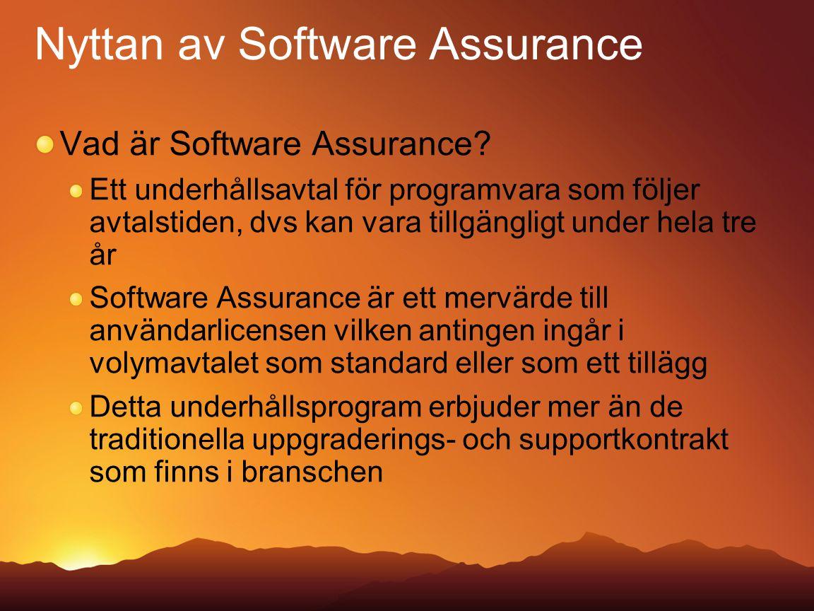 Nyttan av Software Assurance Vad är Software Assurance? Ett underhållsavtal för programvara som följer avtalstiden, dvs kan vara tillgängligt under he