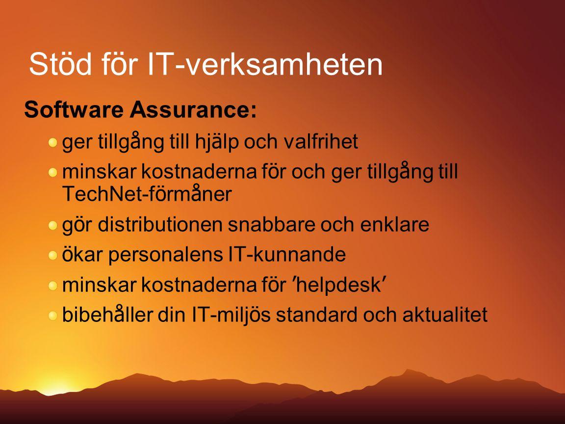St ö d f ö r IT-verksamheten Software Assurance: ger tillg å ng till hj ä lp och valfrihet minskar kostnaderna f ö r och ger tillg å ng till TechNet-f