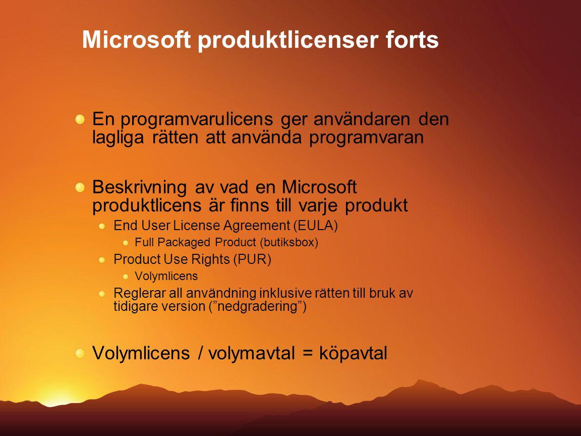 En programvarulicens ger användaren den lagliga rätten att använda programvaran Beskrivning av vad en Microsoft produktlicens är finns till varje prod