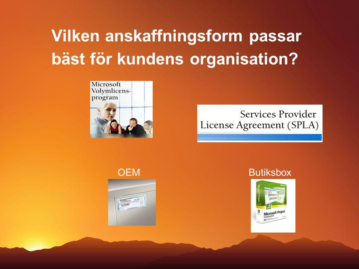 Volymlicensprogram - generell översikt Ägande Standardisering (hela företaget) Engångsköp Prenumeration Open Value Open License OEM / stycklicens Open Value company-wide Open Value subscription
