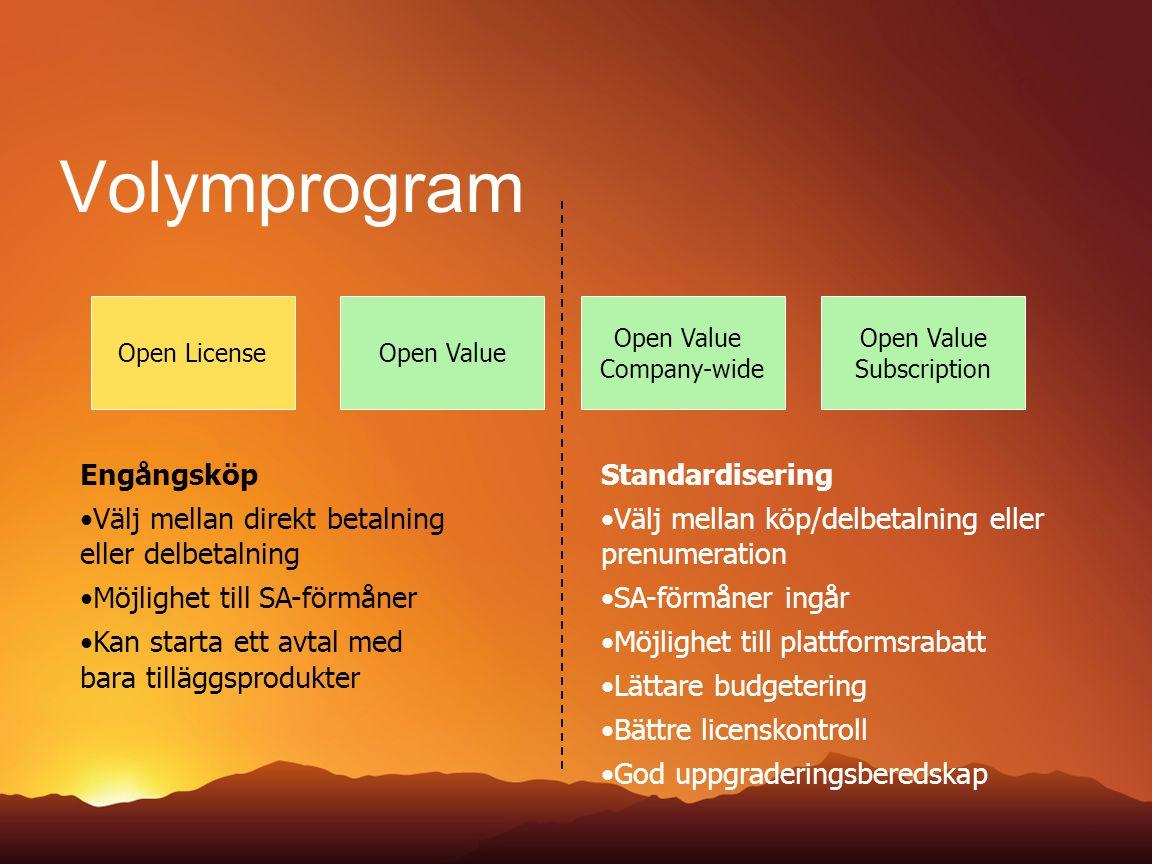 Volymprogram Open LicenseOpen Value Company-wide Open Value Subscription Standardisering Välj mellan köp/delbetalning eller prenumeration SA-förmåner ingår Möjlighet till plattformsrabatt Lättare budgetering Bättre licenskontroll God uppgraderingsberedskap Engångsköp Välj mellan direkt betalning eller delbetalning Möjlighet till SA-förmåner Kan starta ett avtal med bara tilläggsprodukter