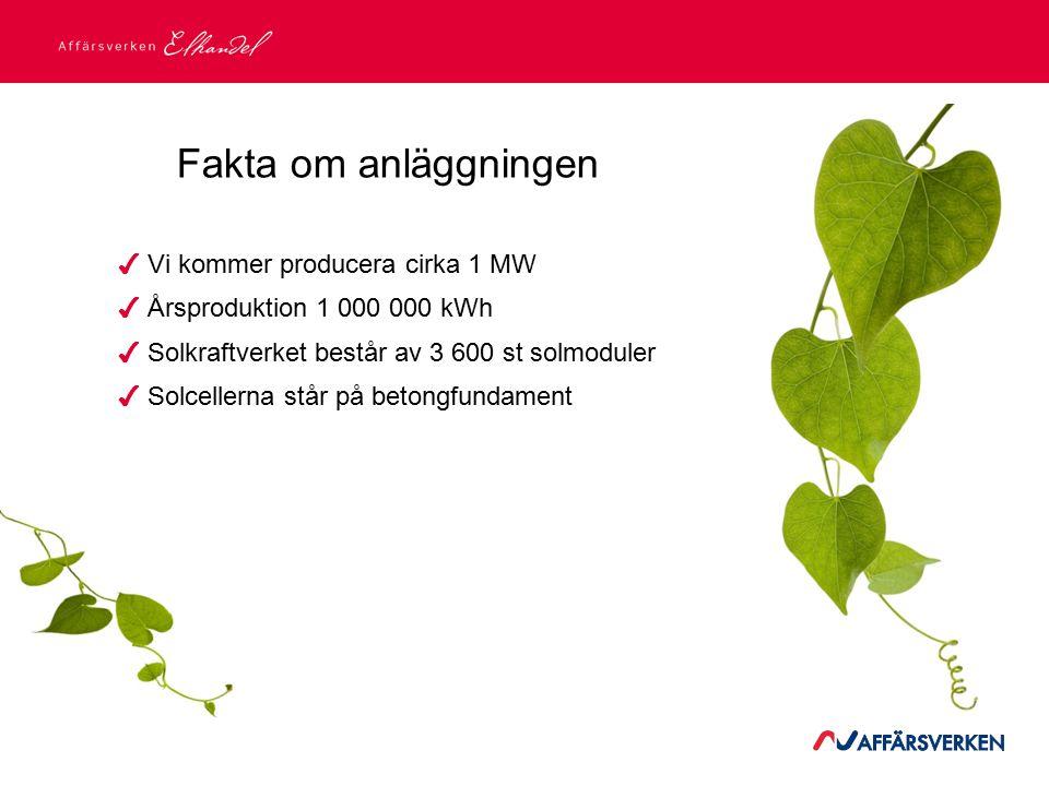 ✔ Vi kommer producera cirka 1 MW ✔ Årsproduktion 1 000 000 kWh ✔ Solkraftverket består av 3 600 st solmoduler ✔ Solcellerna står på betongfundament Fa