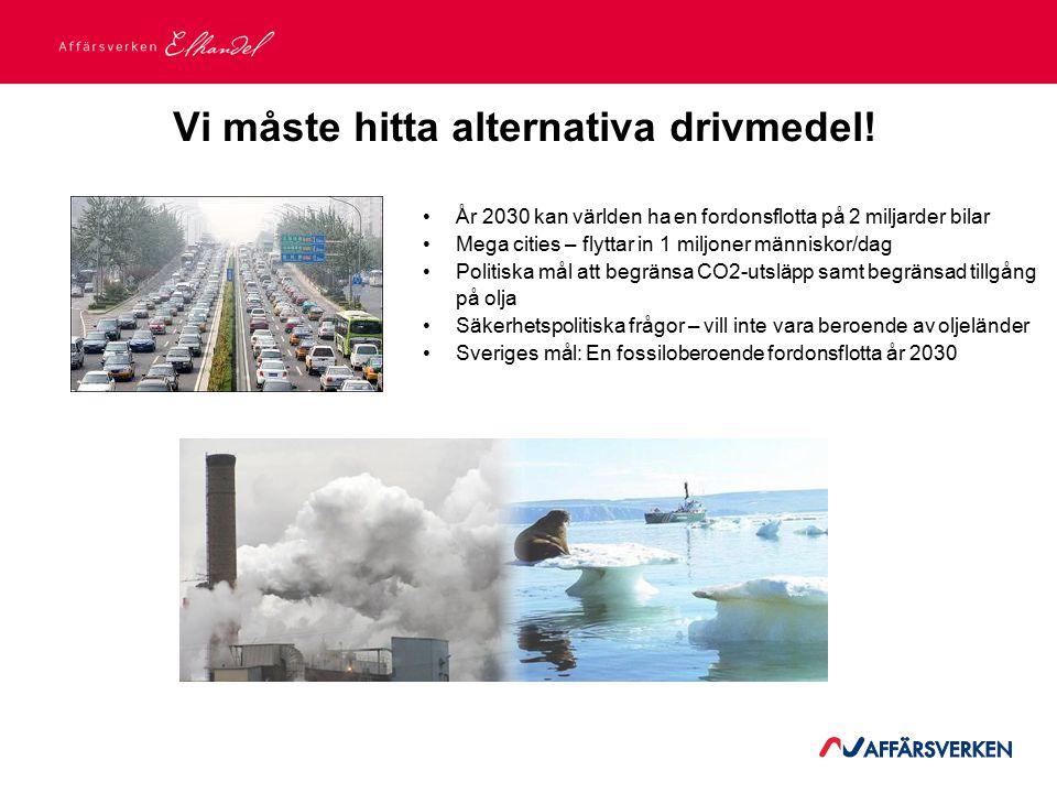 2015-03-21 År 2030 kan världen ha en fordonsflotta på 2 miljarder bilar Mega cities – flyttar in 1 miljoner människor/dag Politiska mål att begränsa CO2-utsläpp samt begränsad tillgång på olja Säkerhetspolitiska frågor – vill inte vara beroende av oljeländer Sveriges mål: En fossiloberoende fordonsflotta år 2030 Vi måste hitta alternativa drivmedel!