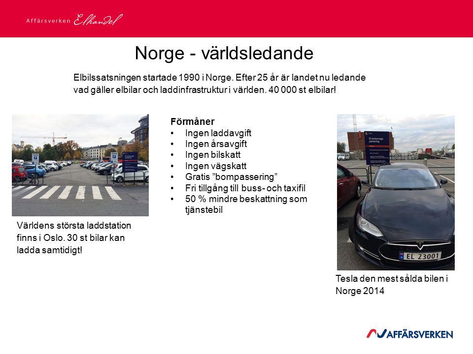 2015-03-21 Norge - världsledande Elbilssatsningen startade 1990 i Norge. Efter 25 år är landet nu ledande vad gäller elbilar och laddinfrastruktur i v