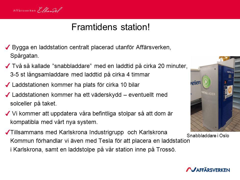 """2015-03-21 Framtidens station! ✔ Bygga en laddstation centralt placerad utanför Affärsverken, Spårgatan. ✔ Två så kallade """"snabbladdare"""" med en laddti"""