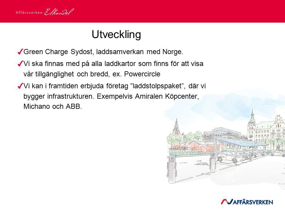 2015-03-21 Utveckling ✔ Green Charge Sydost, laddsamverkan med Norge. ✔ Vi ska finnas med på alla laddkartor som finns för att visa vår tillgänglighet