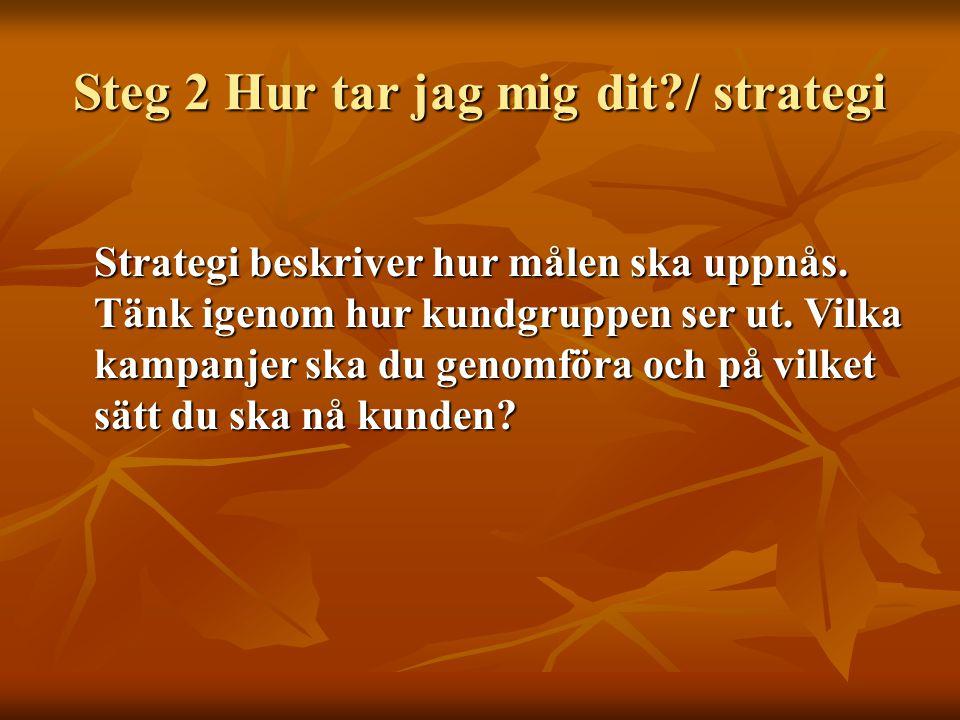 Steg 2 Hur tar jag mig dit?/ strategi Strategi beskriver hur målen ska uppnås. Tänk igenom hur kundgruppen ser ut. Vilka kampanjer ska du genomföra oc