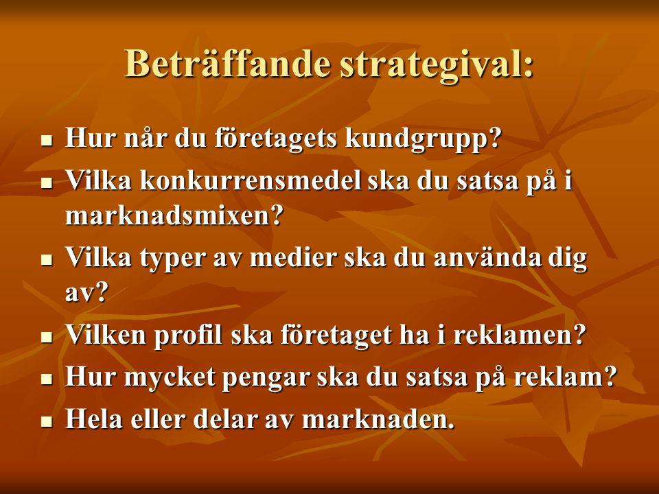 Beträffande strategival: Hur når du företagets kundgrupp? Hur når du företagets kundgrupp? Vilka konkurrensmedel ska du satsa på i marknadsmixen? Vilk