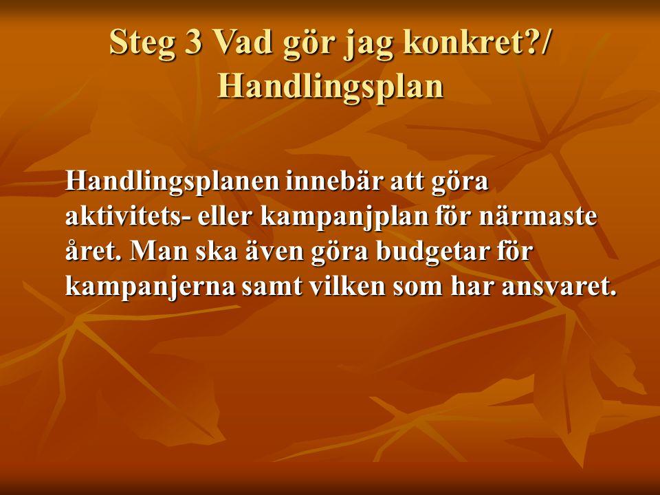 Steg 3 Vad gör jag konkret?/ Handlingsplan Handlingsplanen innebär att göra aktivitets- eller kampanjplan för närmaste året. Man ska även göra budgeta