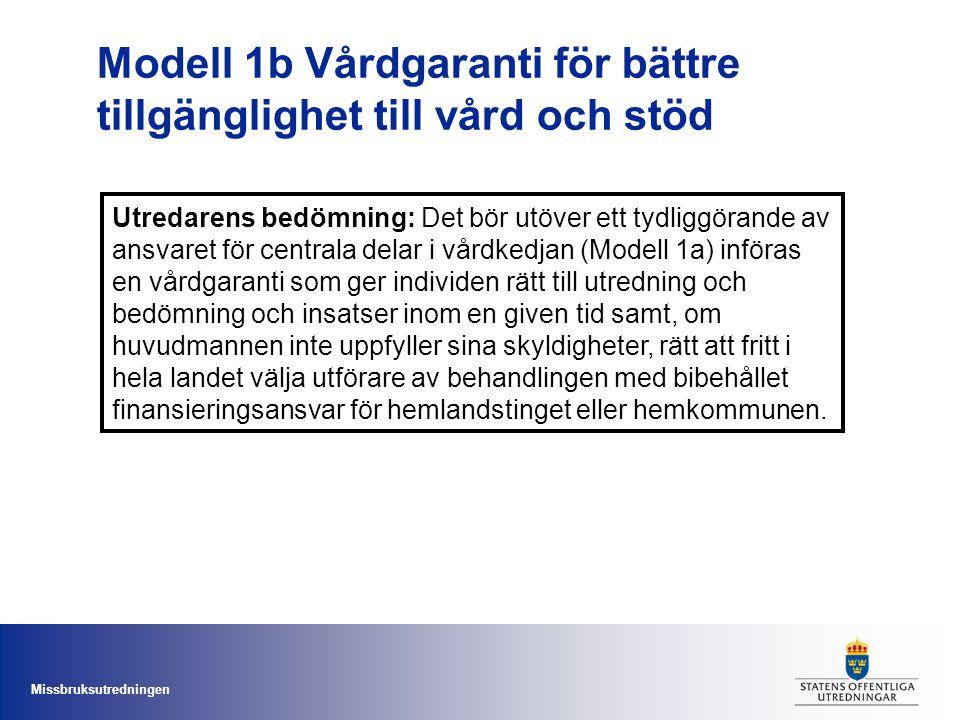 Missbruksutredningen Modell 1b Vårdgaranti för bättre tillgänglighet till vård och stöd Utredarens bedömning: Det bör utöver ett tydliggörande av ansv