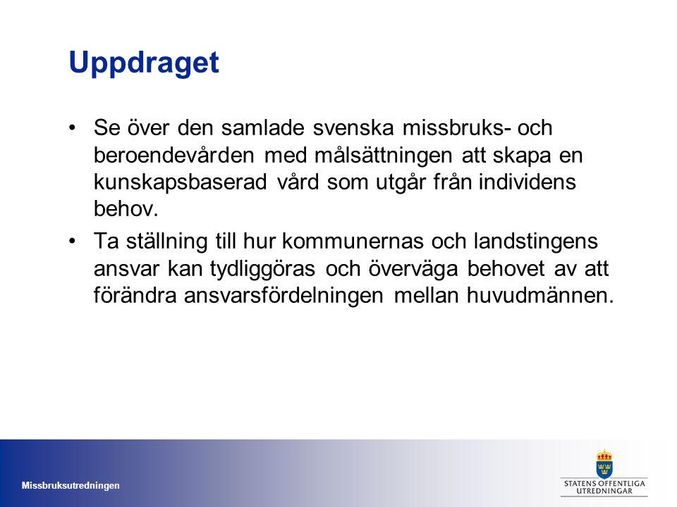 Missbruksutredningen Uppdraget Se över den samlade svenska missbruks- och beroendevården med målsättningen att skapa en kunskapsbaserad vård som utgår