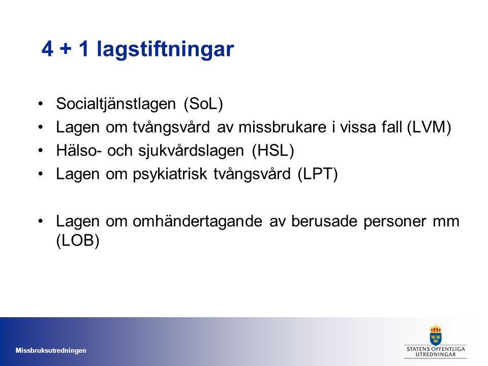 Missbruksutredningen 4 + 1 lagstiftningar Socialtjänstlagen (SoL) Lagen om tvångsvård av missbrukare i vissa fall (LVM) Hälso- och sjukvårdslagen (HSL