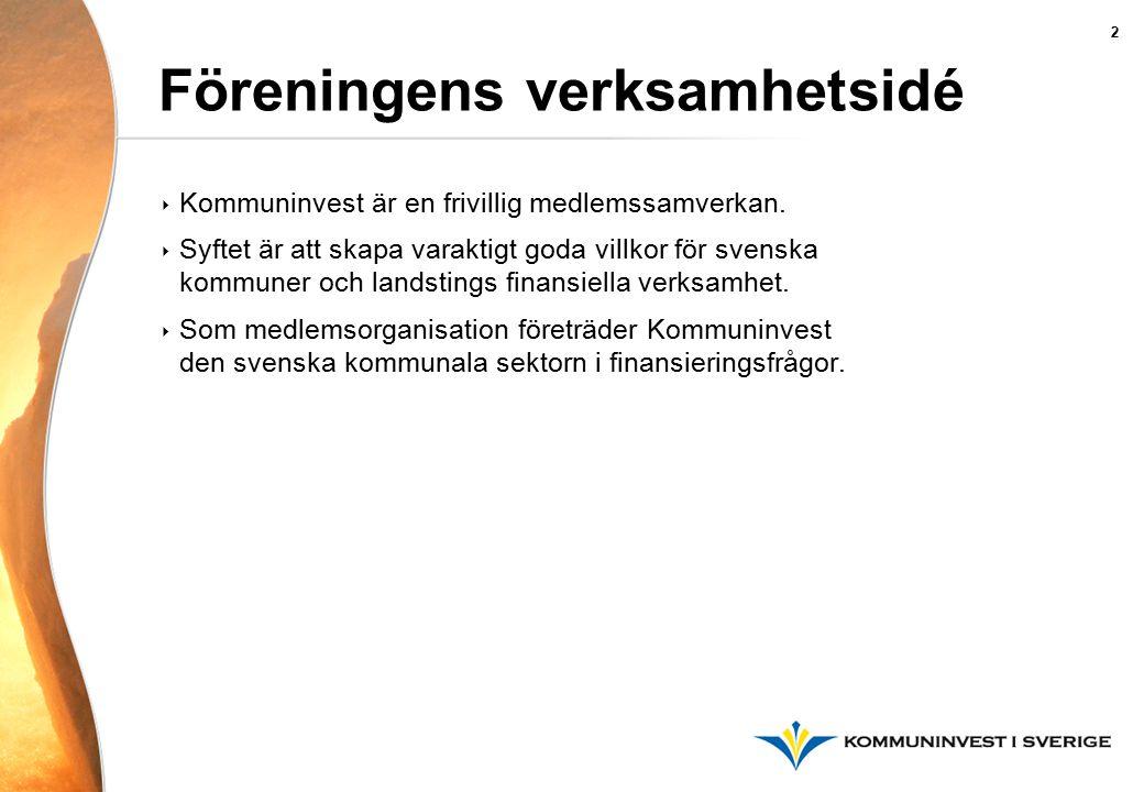 Föreningens verksamhetsidé ‣ Kommuninvest är en frivillig medlemssamverkan. ‣ Syftet är att skapa varaktigt goda villkor för svenska kommuner och land
