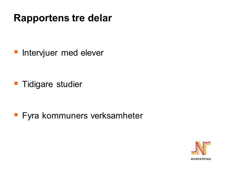 Rapportens tre delar  Intervjuer med elever  Tidigare studier  Fyra kommuners verksamheter