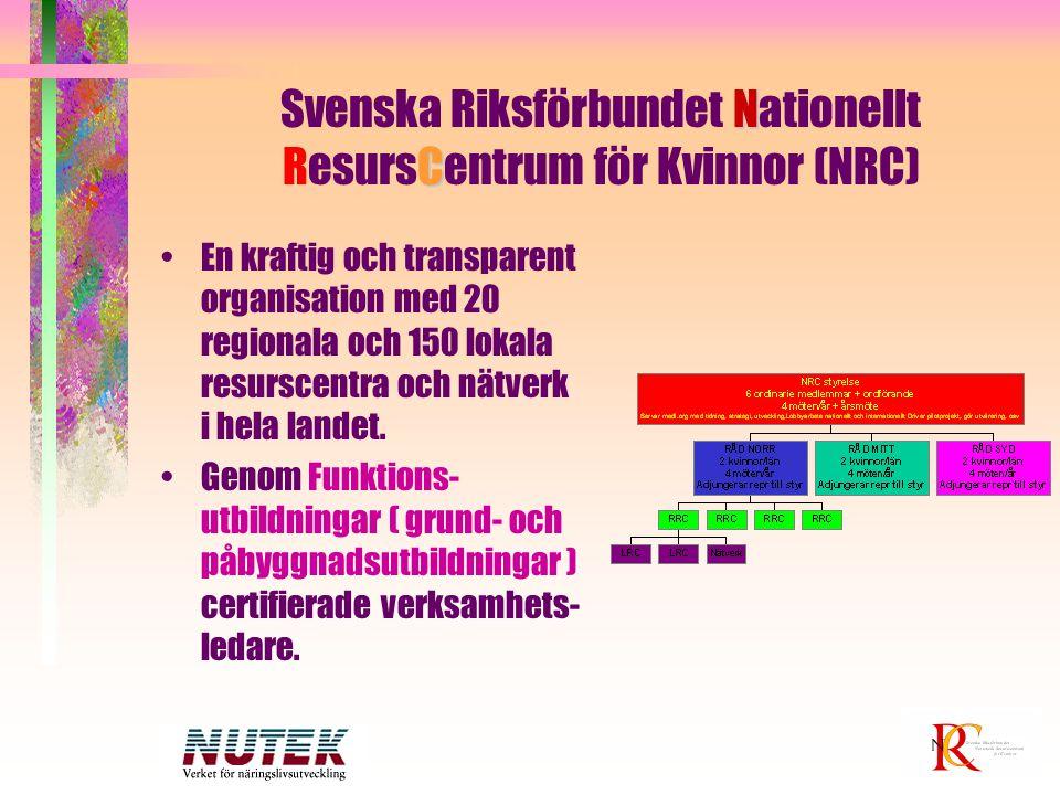 N C Svenska Riksförbundet Nationellt ResursCentrum för Kvinnor (NRC) En kraftig och transparent organisation med 20 regionala och 150 lokala resurscen