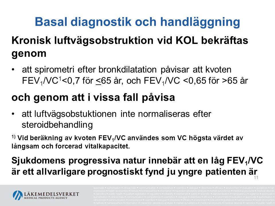 Basal diagnostik och handläggning Kronisk luftvägsobstruktion vid KOL bekräftas genom att spirometri efter bronkdilatation påvisar att kvoten FEV 1 /V