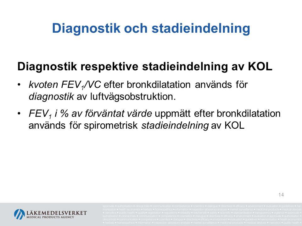 Diagnostik och stadieindelning Diagnostik respektive stadieindelning av KOL kvoten FEV 1 /VC efter bronkdilatation används för diagnostik av luftvägso