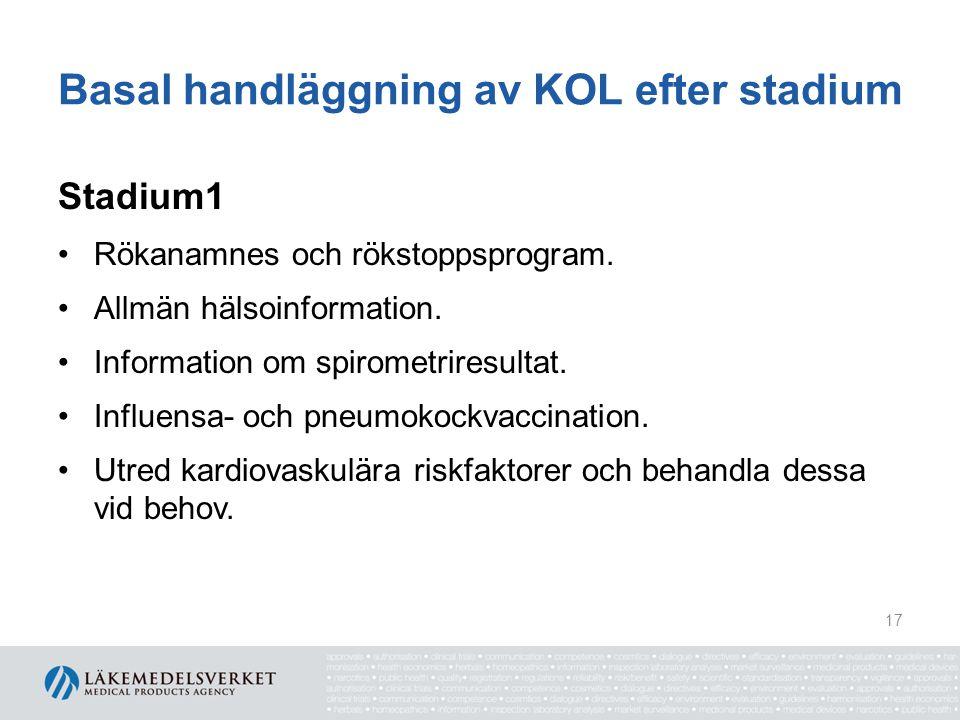 Basal handläggning av KOL efter stadium Stadium1 Rökanamnes och rökstoppsprogram. Allmän hälsoinformation. Information om spirometriresultat. Influens