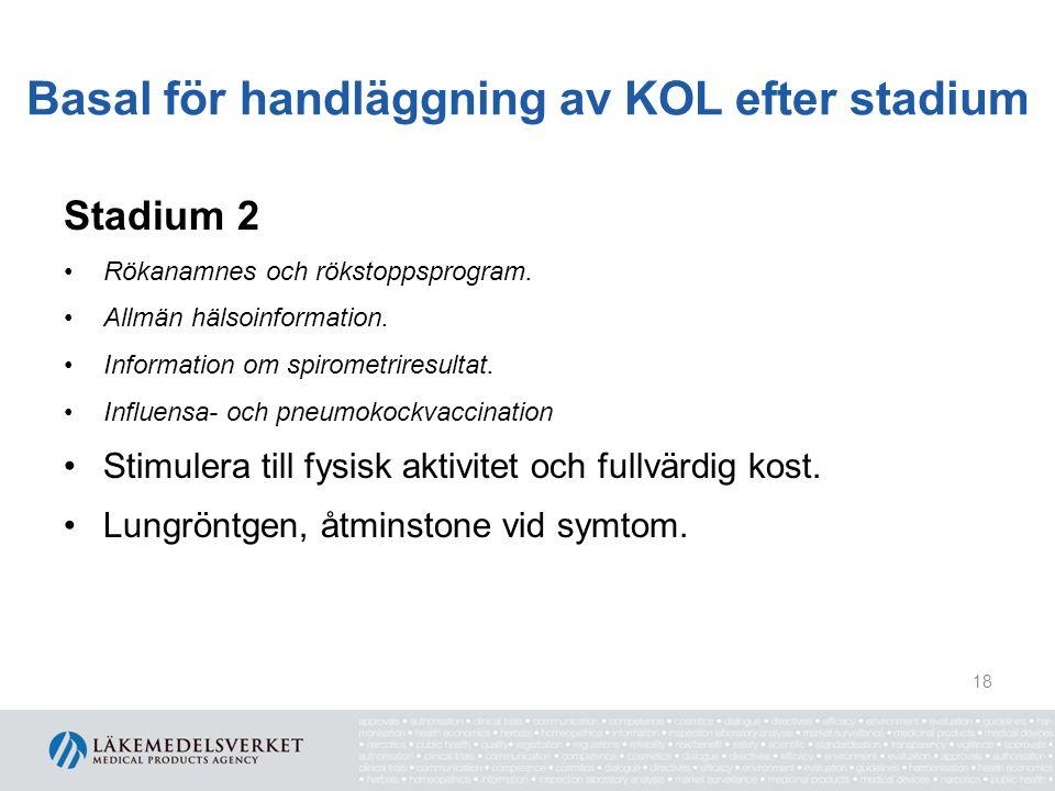 Basal för handläggning av KOL efter stadium Stadium 2 Rökanamnes och rökstoppsprogram. Allmän hälsoinformation. Information om spirometriresultat. Inf