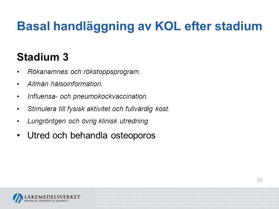 Basal handläggning av KOL efter stadium Stadium 3 Rökanamnes och rökstoppsprogram. Allmän hälsoinformation. Influensa- och pneumokockvaccination. Stim