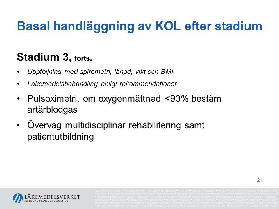 Basal handläggning av KOL efter stadium Stadium 3, forts. Uppföljning med spirometri, längd, vikt och BMI. Läkemedelsbehandling enligt rekommendatione