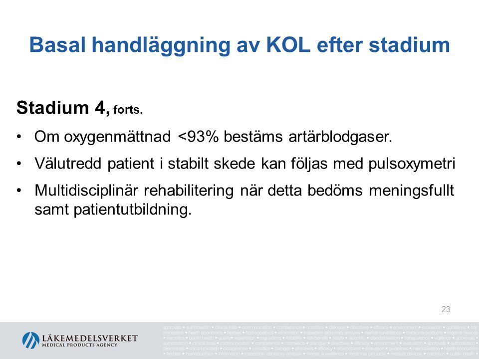 Basal handläggning av KOL efter stadium Stadium 4, forts. Om oxygenmättnad <93% bestäms artärblodgaser. Välutredd patient i stabilt skede kan följas m