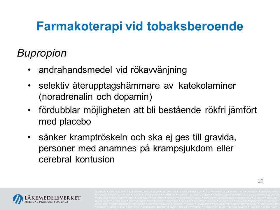Farmakoterapi vid tobaksberoende Bupropion andrahandsmedel vid rökavvänjning selektiv återupptagshämmare av katekolaminer (noradrenalin och dopamin) f