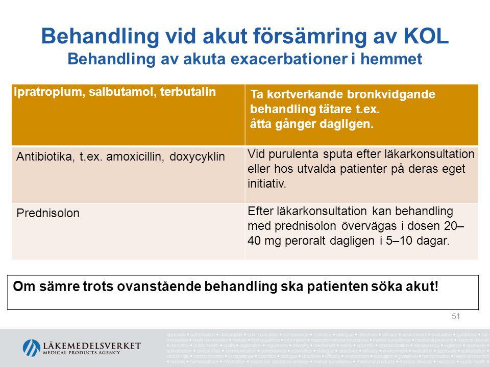 Behandling vid akut försämring av KOL Behandling av akuta exacerbationer på vårdcentral/akutmottagning Salbutamol 2,5–5 mg och/eller ipratropium 0,5 mg Ges via nebulisator.