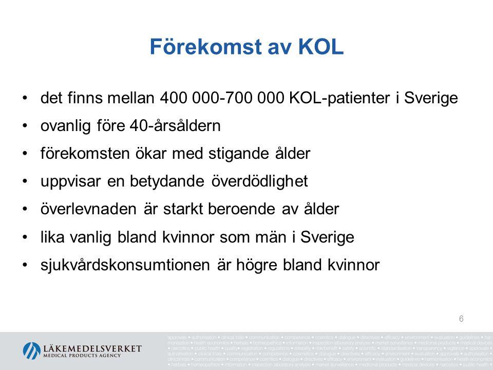 Förekomst av KOL det finns mellan 400 000-700 000 KOL-patienter i Sverige ovanlig före 40-årsåldern förekomsten ökar med stigande ålder uppvisar en be