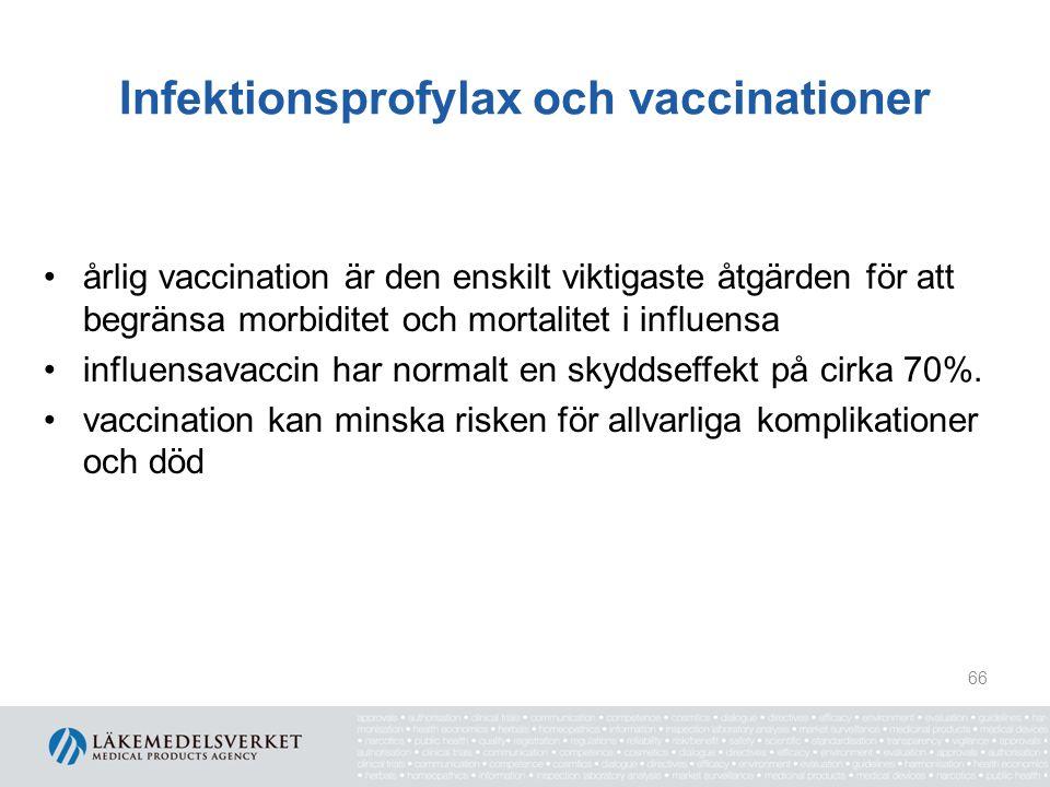Infektionsprofylax och vaccinationer Rekommendationer, forts.