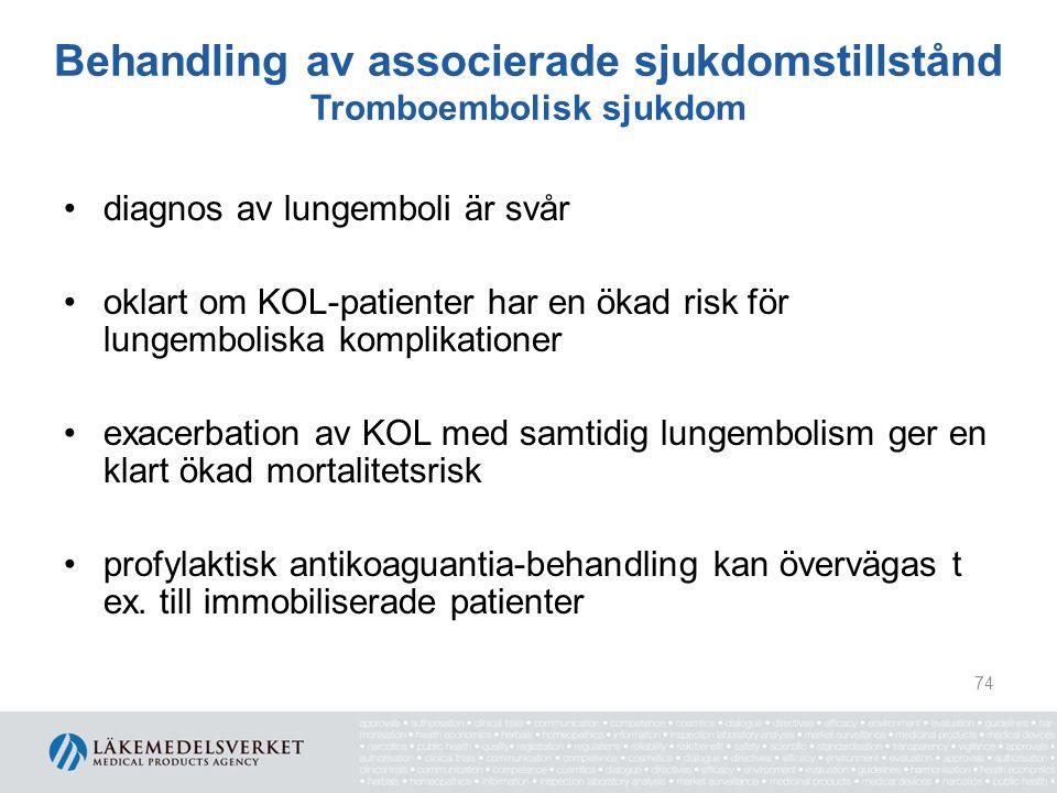 Behandling av associerade sjukdomstillstånd Tromboembolisk sjukdom diagnos av lungemboli är svår oklart om KOL-patienter har en ökad risk för lungembo